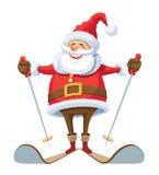 Weihnachtsmann-Skifahren Stockfotografie