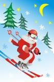 Weihnachtsmann-Skifahrer Lizenzfreies Stockbild