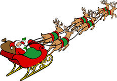 Weihnachtsmann-u. Ren-Pferdeschlitten Lizenzfreies Stockfoto