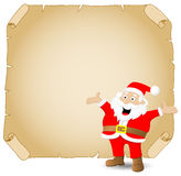 Weihnachtsmann und altes Pergament Stockbild