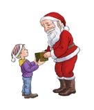 Weihnachtsmann und ein Junge Lizenzfreies Stockfoto