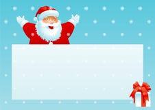 Weihnachtsmann-und Geschenkkasten mit Weihnachtszeichen Lizenzfreie Stockfotografie