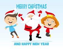Weihnachtsmann und Kinder Stockbild