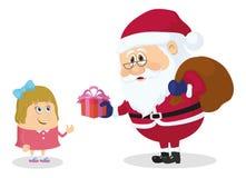 Weihnachtsmann und Mädchen Stockbilder