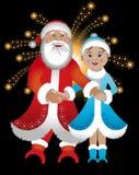 Weihnachtsmann und Mädchen Stockfoto
