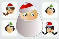 Weihnachtsmann und Mrs Klaus Elfen ist Knopf, Schlüssel, Druckknopf Lizenzfreie Stockfotos