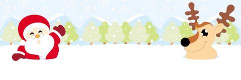 Weihnachtsmann und Ren auf Schnee mit Schneeflockenweihnachten lizenzfreie stockfotos