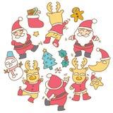 Weihnachtsmann- und Rencharakter mit Verzierungsillustration lizenzfreie abbildung