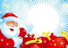 Weihnachtsmann und rote Beutel Stockbilder