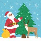Weihnachtsmann und Rotwild Lizenzfreie Stockbilder