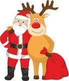 Weihnachtsmann und Rotwild Lizenzfreie Stockfotografie