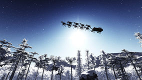 Weihnachtsmann und Rotwild Stockfoto