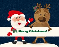 Weihnachtsmann und Rotwild auf Hintergrund des nächtlichen Himmels mit Sternen Weihnachtsmann und roter Ball Nette Karte der Wint Stockfotografie