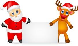 Weihnachtsmann- und Rotwildkarikatur mit leerem Zeichen vektor abbildung