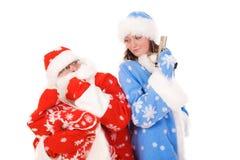 Weihnachtsmann und Schnee-Maid lizenzfreie stockbilder