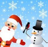 Weihnachtsmann und Schneemann Stockfotos