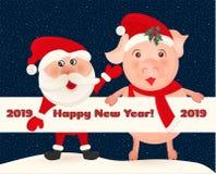 Weihnachtsmann und Schwein auf Hintergrund des nächtlichen Himmels mit Sternen Weihnachtsmann und roter Ball Nette Karte der Wint Stockfotos