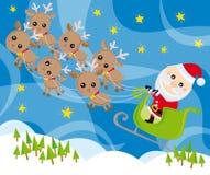 Weihnachtsmann und sein Pferdeschlitten Lizenzfreie Stockfotografie