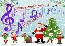 Weihnachtsmann und seine Elfe, die zusammen auf Weihnachtshintergrund singen Lizenzfreies Stockbild