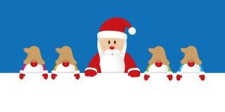 Weihnachtsmann und seine Helfergnomweihnachtskarikatur vektor abbildung