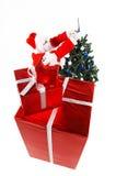 Weihnachtsmann-und Weihnachtsbaum lizenzfreies stockbild