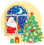 Weihnachtsmann-und Weihnachtsbaum Stockbild