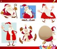 Weihnachtsmann- und Weihnachtskarikatursatz Stockfotografie