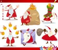 Weihnachtsmann- und Weihnachtskarikatursatz Stockfotos