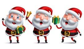 Weihnachtsmann-Vektorzeichensatz, der Weihnachtsgeschenke, -glocke und -überraschung hält stock abbildung