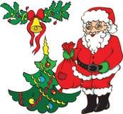 Weihnachtsmann, Weihnachtsbaum und Glocke. Lizenzfreies Stockfoto