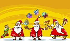 Weihnachtsmann-Weihnachtsgruppenkarikatur Stockfotos