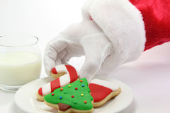 Weihnachtsmann, Weihnachtsplätzchen und Milch lizenzfreie stockbilder