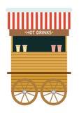 Weihnachtsmarkt angemessen Verkauf von heißen Getränken Flaches Art illustrat stock abbildung