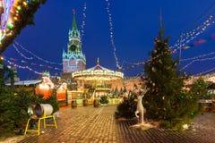 Weihnachtsmarkt auf dem Roten Platz, Moskau, Russland Lizenzfreies Stockfoto