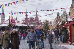 Weihnachtsmarkt auf dem roten Quadrat Moskau, Russland Lizenzfreie Stockfotos