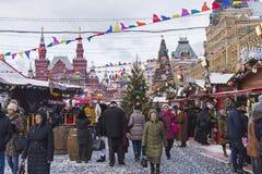 Weihnachtsmarkt auf dem roten Quadrat Moskau, Russland Lizenzfreie Stockbilder