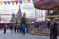 Weihnachtsmarkt auf dem roten Quadrat Moskau, Russland Stockfoto