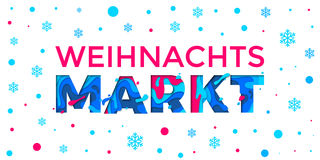 Weihnachtsmarkt banner Weihnachten Christmas German holiday market vector snowflake pattern background. Weihnachtsmarkt banner background for German Weihnachten Stock Image