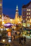 Weihnachtsmarkt in Breslau, Polen stockbild