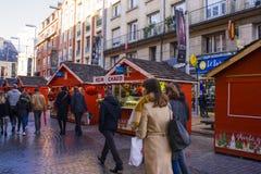 Weihnachtsmarkt in Frankreich lizenzfreies stockbild