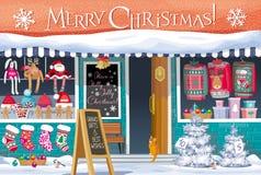 Weihnachtsmarkt-Grußkarte Stockfotos