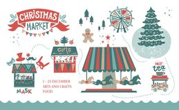 Weihnachtsmarkt-Illustrationsplakat stockfoto