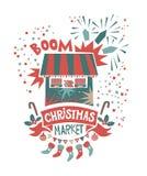 Weihnachtsmarkt-Illustrationsplakat Stockfotografie