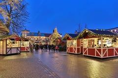 Weihnachtsmarkt im Liseberg-Vergnügungspark in Gothenburg Lizenzfreies Stockfoto