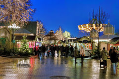Weihnachtsmarkt im Liseberg-Vergnügungspark in Gothenburg, Schweden Stockbilder