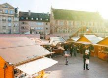Weihnachtsmarkt in Mulhouse Stockfotografie