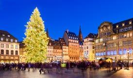 Weihnachtsmarkt in Straßburg, Frankreich Stockbild