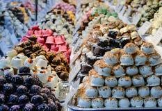 Weihnachtsmarktlebensmittel - Nachtisch, Bonbons, marzipans Lizenzfreies Stockfoto