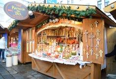 Weihnachtsmarktställe, Wien Stockfotografie
