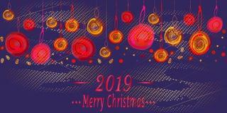 Weihnachtsmehrfarbige Bälle, Konfettis, Schneesturm auf hellem blauem Hintergrund vektor abbildung